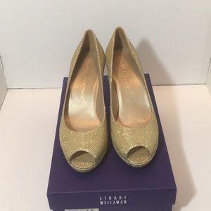 Stuart Weitzman Gold Noir Heels Pumps Size 7 M